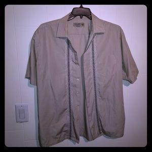 7 Diamonds mens short sleeve gray size Large